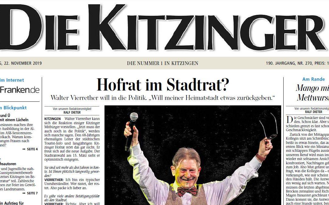 """Bericht """"Die Kitzingen"""", 22. November 2019 von Ralf Dieter"""